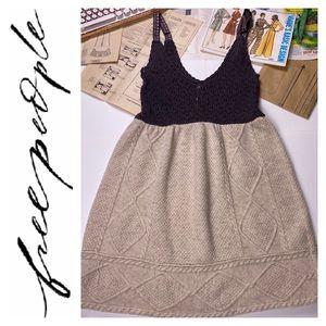 FREE PEOPLE Crochet Mini Sweater Dress Brown Ivory